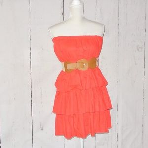 Have Strapless Orange Dress Belt L Ruffles Linen